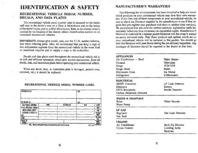 1996 Thor Hurricane Owner's Manual Brochure page 9