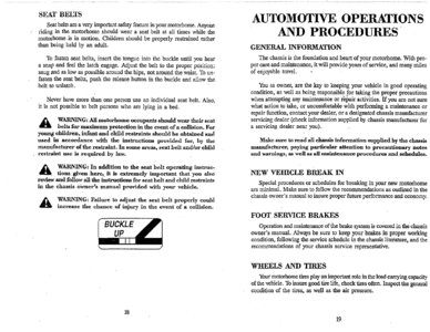 1996 Thor Hurricane Owner's Manual Brochure page 13