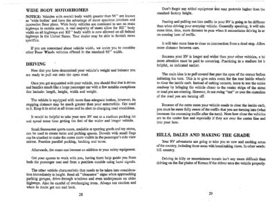 1996 Thor Hurricane Owner's Manual Brochure page 18