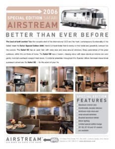 2006 Airstream Safari Special Edition Brochure page 1
