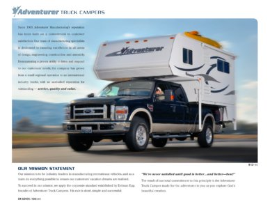 2010 ALP Adventurer Truck Campers Brochure page 2
