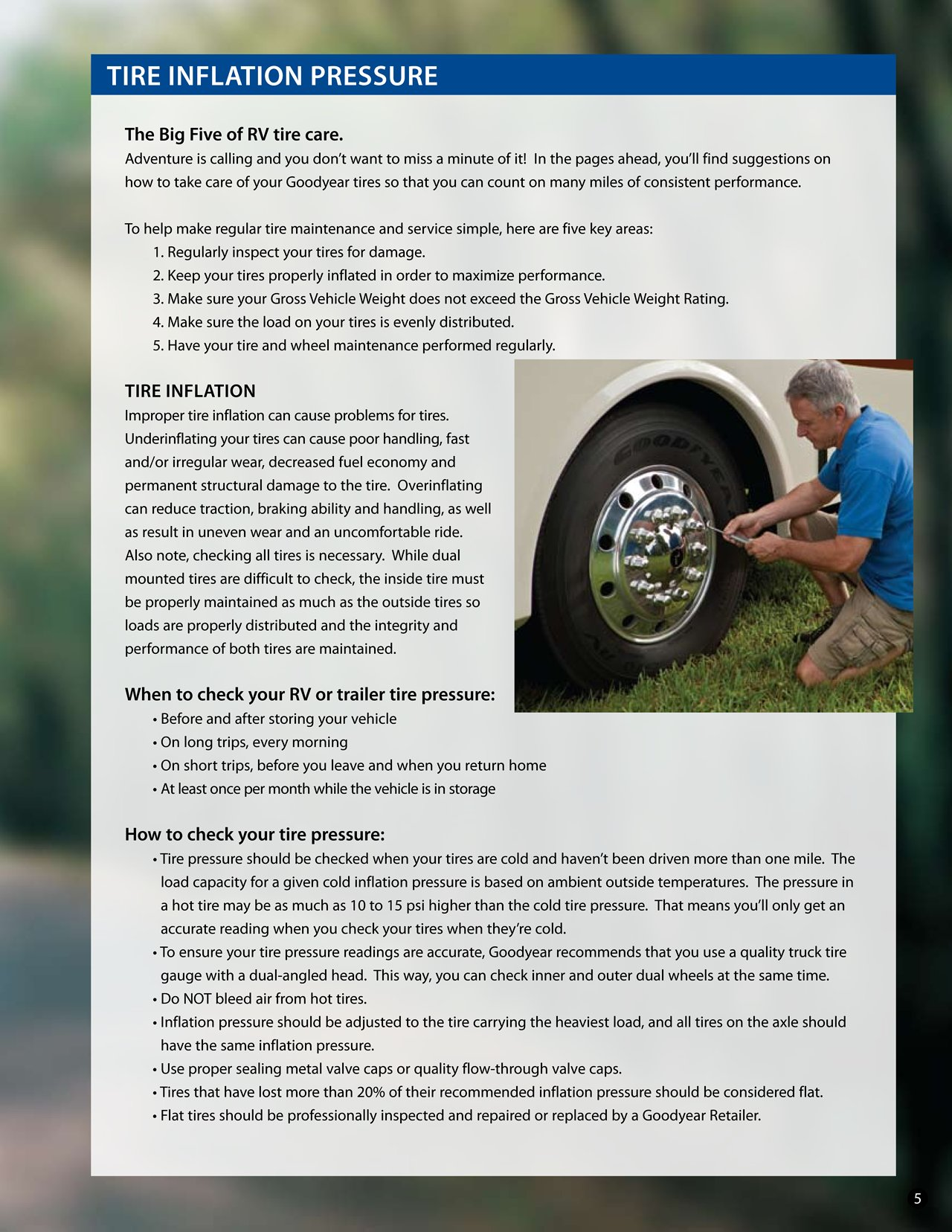 2010 Goodyear Rv Tire Care Guide Rv Brochures Download