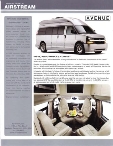2011 Airstream Avenue Brochure