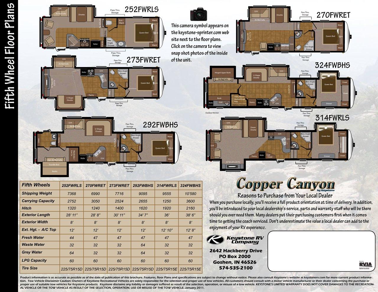 2011 Keystone Rv Sprinter Copper Canyon Brochure Download Rv Brochures