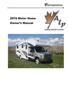2016 ALP Adventurer Motor Home Owner's Manual page 1