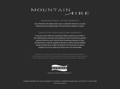 2016 Newmar Mountain Aire Brochure page 29