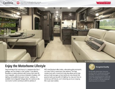 2016 Winnebago Cambria Brochure page 2