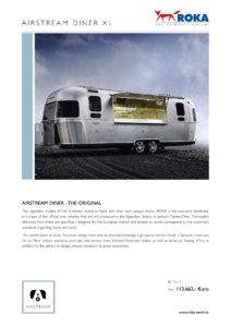 2017 Airstream Diner XL Europe Brochure page 1