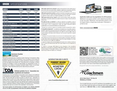 2018 Coachmen Orion French Brochure page 8