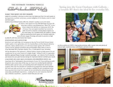 2020 Coachmen Galleria Brochure page 2