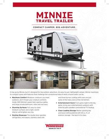2020 Winnebago Minnie Travel Trailer Brochure