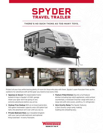 2020 Winnebago Spyder Travel Trailer Brochure